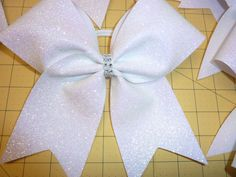 WHITE  Cracked ICE Cheer Bow ~ Iridescent  * Team by TheCheerBowBabe on Etsy