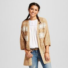 Women's Marled Cable Crochet Cardigan Taupe Brown L - Flying Tomato (Juniors'), Light Brown