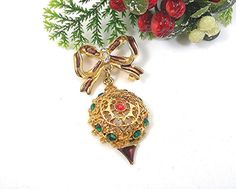 Christmas Brooch Dangling Tree Ornament by AtticDustAntiques