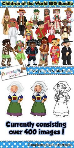 HEAVILY DISCOUNTED for 2 days onl! Children of the World clip art BIG Bundle currently comprised of over 400 individual clip art of children dressed in traditional costumes. 70 countries in all!  #ramonam #ramonamgraphics #kidsapproved #childrenoftheworld #childrenoftheworldclipart #tpt #teacherspayteachers