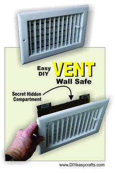 How to make a DIY Air Vent with Secret Compartment Wall Safe. This is an easy inexpensive way to hide things in plane sight. The Secret Wall safe could be us. Hidden Gun Safe, Hidden Gun Storage, Secret Storage, Wall Safe, Safe Room, Hidden Compartments, Secret Compartment, Gun Hiding Places, Hidden Places