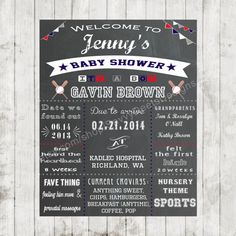 Sports/Baseball themed Baby Shower Chalkboard Printable Poster