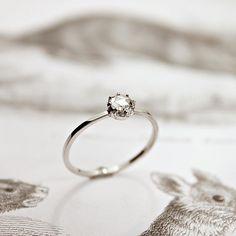 Image of platinum 3.8mm rose-cut diamond ring