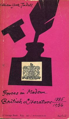 paperback book cover design by Paul Rand.    Forces in Modern British Literature by William York Tindall. Vintage Books, 1956. Second Printing.