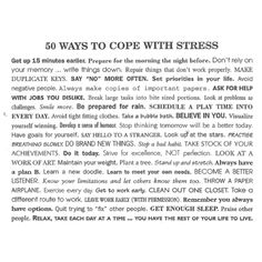 How to cope with stress.