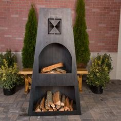 Beautiful hand made Steel Outdoor Fireplace. European inspired designs made from heavy 12 gauge steel. The Ember Haus' outdoor fireplaces will develop a rust patina and are built to last years and years without any maintenance. Grill Gazebo, Patio Gazebo, Backyard Patio, Wood Patio, Outdoor Pergola, Natural Gas Outdoor Fireplace, Outdoor Fireplaces, Outdoor Wood Burning Fireplace, Outdoor Fireplace Kits