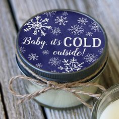 Snowflake favor Set of 12 - 4 oz Baby it's Cold Outside Baby Shower Favor Candle- Personalized Baby Shower Favors // Winter Baby Shower