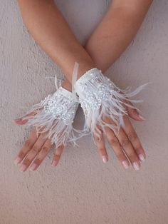 Feather cuffs after enchantment Lace Cuffs, Lace Gloves, Bridal Lace, Wedding Lace, Luxury Wedding, Wedding Gloves, Wrist Corsage, Lace Embroidery, Fabric Jewelry