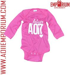 Shop AOII Emporium - The AOII Emporium is the place to shop for everything Alpha Omicron Pi! Pink Alpha Omicron Pi long sleeve Future AOII onesie!! Perfect Legacy Gift!!