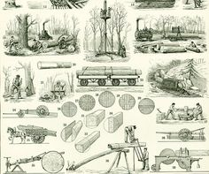 Antique French print from the Nouveau Larousse Illustrated published in Paris between 1897 to This is the original print, not a copy. The reverse side is printed. Antique Woodworking Tools, Antique Tools, Woodworking Tips, Funny Fishing Pictures, Art Studio Room, Camping Shelters, Old Cabins, Old Tractors, To Go