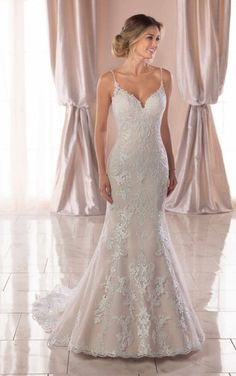 2ac5fe2ec6f82 Classic Fit and Flare with Pearl-Finished Lace - Stella York Wedding Dresses