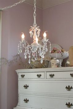 dreamy pink mini chandelier with roses by gingerschoice on Etsy Shabby Chic Lamps, Shabby Chic Style, 3 Light Chandelier, Romantic Cottage, Vintage Interiors, Big Girl Rooms, Creative Decor, Modern House Design, Decoration