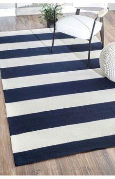 Homespun Solid Stripes Royal Blue Rug | Contemporary Rugs