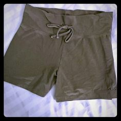 Av?a workout shorts Gray workout shorts from Av?a. Drawstring waist, very stretchy. Not too short, about 12 inches long from waistband. Inseam 3.5 inches from crotch. Av?a  Shorts