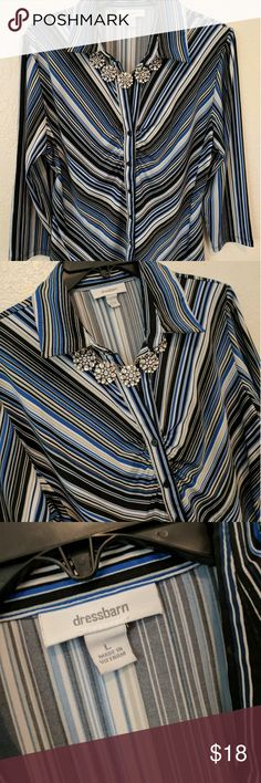 Dress Barn Blouse Gently preloved, great condition! Soft, comfy button up. Necklace not included. Dress Barn Tops Button Down Shirts