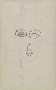 Modigliani drawings: study of head, full face, pencil - boceto cabeza femenina cara completa, lápiz. Amedeo Modigliani
