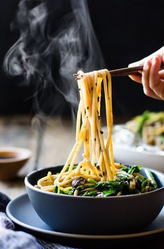 Hot Sesame Rice Noodles with Asparagus, Shiitakes and Pea Shoots