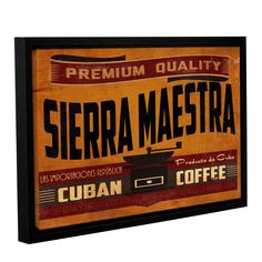 Jason Giacopelli's 'Cuban Coffee V3' Gallery Wrapped Floater-framed Canvas is a wonderful reproduction featuring avibrantly colored vintage advertisement for coffee. A wonderful conversation piece tha
