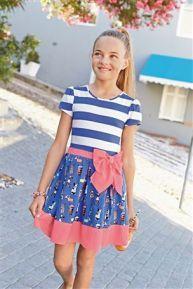 Blue Stripe Dog Print Dress