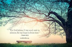 """""""For God alone, O my soul, wait in silence, for my hope is from him. Psalm 62 5, Psalms, The Lord Is Good, My Lord, Scripture Study, Bible Verses, Bible Quotes, Life Pictures, Life Pics"""