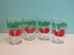 Vintage Hazel Atlas Juice Glasses Glass Set Red Cherry Tomato Tomatoes 1950s