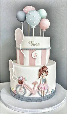 *I love the balloons* Korean Cake, Baby Cakes, Girl Cakes, Birthday Cake Girls, … Baby Girl Birthday Cake, Baby Girl Cakes, Cute Birthday Cakes, Homemade Birthday Cakes, Beautiful Birthday Cakes, Beautiful Cakes, Baby Cakes, Girly Cakes, Cute Cakes