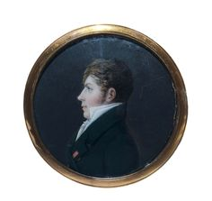 Miniature Portrait of a Gentleman in a Green Jacket from the waist up, face in profile to the left - French - Miniature on ivory, diameter 6.2 cm.
