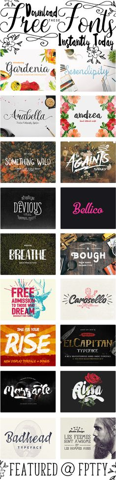 Free Fonts: I am one Happy Girl right now! I just finished downloading all these beauts and wanted to share them with you! A huge perk is they are all conveniently available in one place! My favorite fonts in this collection are first 4 top ones :) Aren't they gorgeous!?I'm not typography expert or anything …