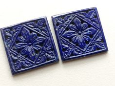 Lapis Lazuli Filigree Hand Carved Matched Pair by gemsforjewels