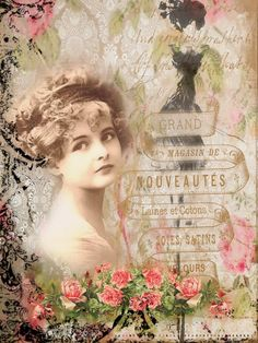 Rosemary: Woman with rose and advertisement