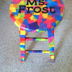 Finished mod podge stool!