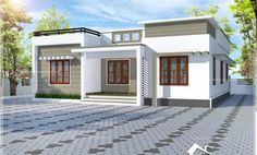 Single Floor House Design, Modern Small House Design, Simple House Design, House Design Photos, Minimalist House Design, Flat Roof House, Facade House, Courtyard House, House Front