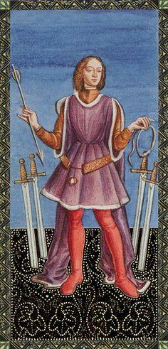 4 d'épées - Golden Tarot of Renaissance par Giordano Berti & Jo Dworkin