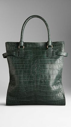 Tarnished Alligator Leather Tote Bag | Burberry