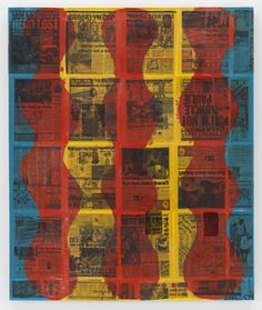 Chris Martin, Hero Lost, 2011, Oil and collage on canvas, 54 x 45 in, 137.2 x 114.3 cm.