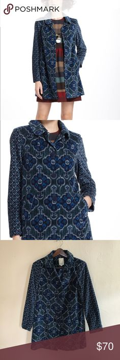 "Elevenses | Indigofloral Velveteen Coat Velveteen peacoat by Elevenses from Anthropologie  Features wrapped buttons  70s inspired tile print  ⚜️ RARE ⚜️ 98% cotton 2% spandex  Bust 32""  Sleeve length 24"" Length 34"" Anthropologie Jackets & Coats Pea Coats"