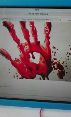 Voorbeeld voor bloedhand.