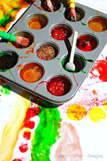 homemade paint recipes.  Muffin tin for orangutan color choices.