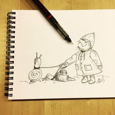 Today I was wondering what kind of pets gnomes would have. How about Mrs. Gnome going for a walk with pet snails on a rainy day? #gnomelife #blackandwhite #drawing #folktale #snail #pets