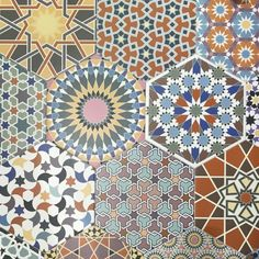 hexagon tiles inspired by traditional Moroccan design Garden Tiles, Mediterranean Tile, Wall Patterns, Hexagon Tiles, Moroccan Colors, Wall Tiles, Geometric Tiles, Tile Patterns, Hexagon