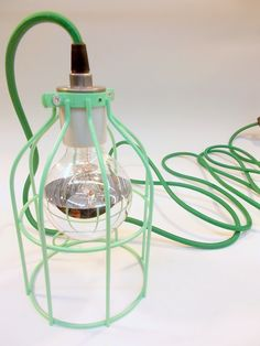 Mint Green Industrial Hanging Cage Lamp Light with Antique Style Edison Bulb by GlassRedux on Etsy