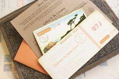 Destination Wedding Invitations Boarding Pass   Vintage Boarding Pass Wedding Invitation (California)