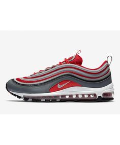 c787ed53cf91 Nike Air Max 97 Sporty Red Grey Colorway Trainers Sale UK Black Trainer  Shoes