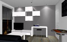 Croquis 3d noir et blanc salon salle manger plan 3d - Simulation chambre 3d ...