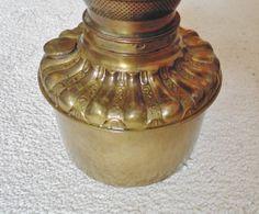 Antique Victorian Fostoria Brass Oil Kerosene Hanging Banquet Lamp Font Fount GWTW Gone With the Wind c. 1892