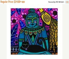 60% Off Today- Buddha Peacock Black Cat Art Tile Ceramic Coaster Print of painting by Heather Galler Abstract Portrait Lightworkers Ascensio