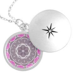 Pink And Grey Kaleidoscope Locket