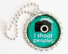 I shoot People Keychain -Retro Vintage Camera -Novelty Photographers Keyring Green keychain Photography Keychain