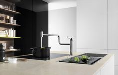 Pivot is a new kitchen faucet by Sieger Design created for Dornbracht Kitchen Island With Cooker, Island With Stove, Modern Kitchen Island, Kitchen Taps, Kitchen Fixtures, Kitchen And Bath, Kitchen Decor, Kitchen Ideas, Kitchen Islands