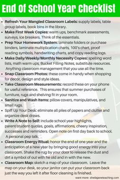 End of the year checklist